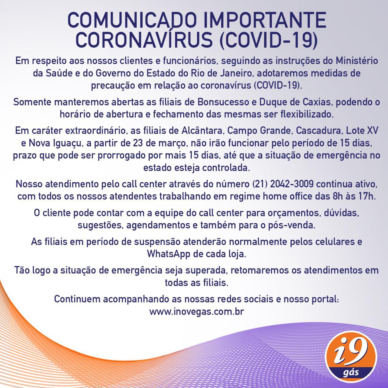 Comunicado Corona Vírus (COVID-19))